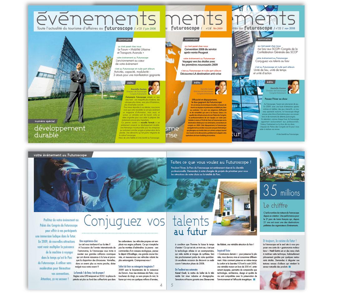 FUTUROSCOPE CONGRES EVENEMENTS Newsletter trimestrielle de 8 pages, diffusée à 15.000 exemplaires
