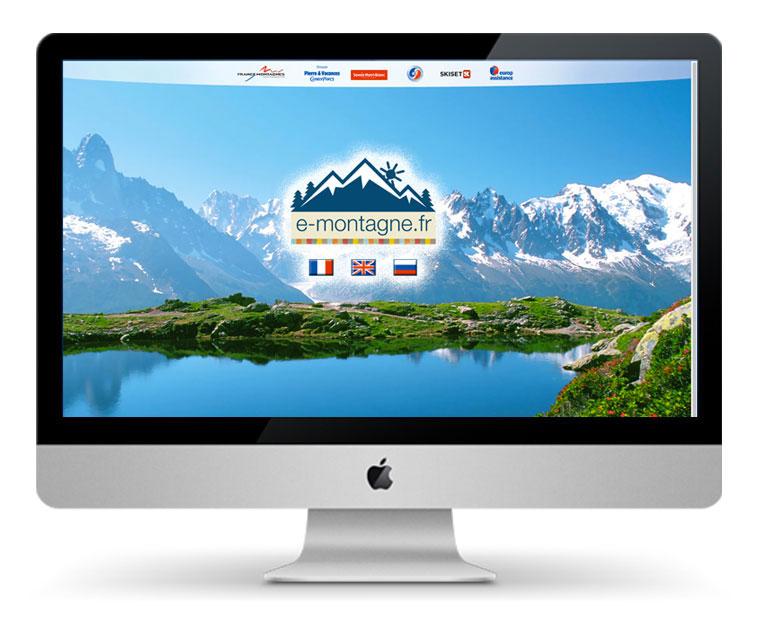 Swww.e-montagne.fr Home page du site, avec accès aux versions anglaise, française et russe - V3 de l'outil, quatrième année de fonctionnement