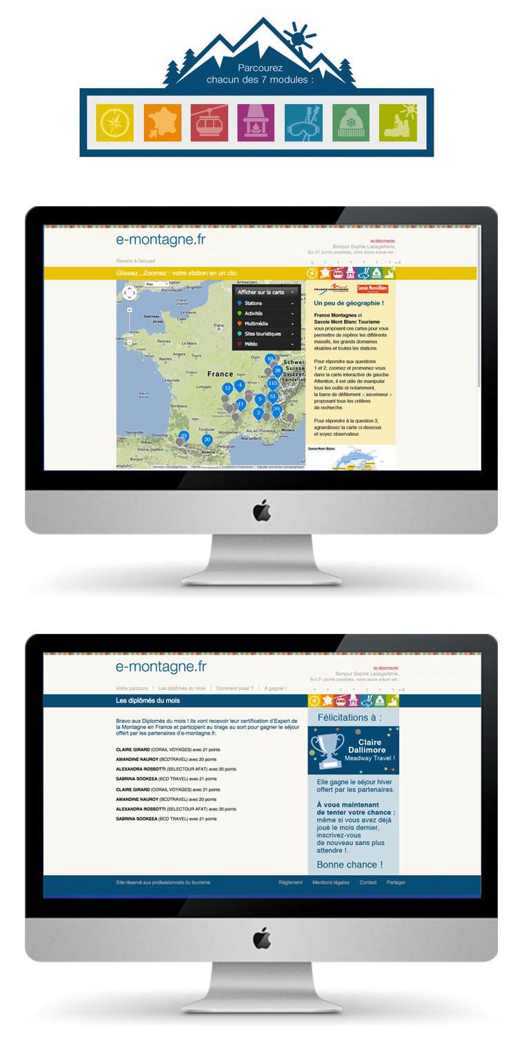 """www.e-montagne.fr Le parcours d'apprentissage est composé de sept modules ; un tirage au sort pour un séjour à la montagne est effectué chaque mois parmi les """"diplômés"""""""