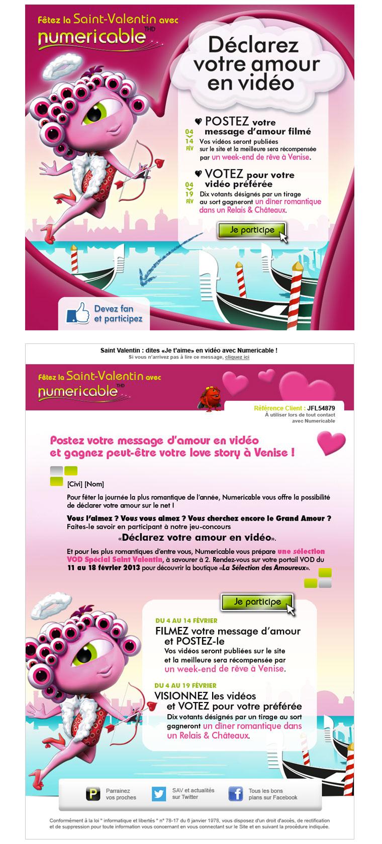 E-MAILING ABONNÉS NUMERICABLE  Jeu-concours à l'occasion de la Saint-Valentin